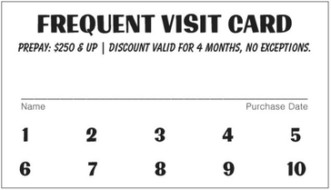 Frequent Visit Card Promo